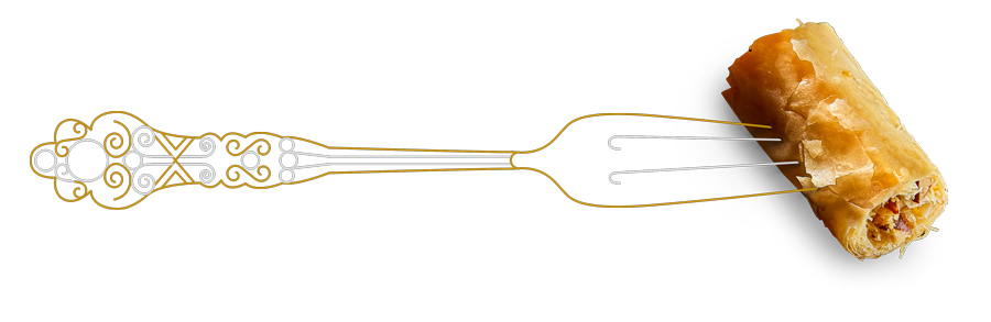 fork graphic with baklava
